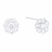 18k White Gold Plated Cubic Zirconia Flower Stud Earrings