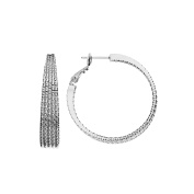 High Polished 40mm Rhodium Plated 5 Row Tapered Hoop with Diamond Cut