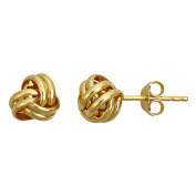 Sterling Silver Yellow 7MM Love Knot Milgraine Stud