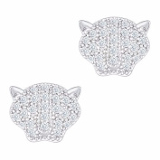 18k White Gold Plated Cubic Zirconia Panther Stud Earrings