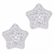 18k White Gold Plated Cubic Zirconia Star Stud Earrings