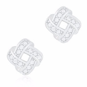 18k White Gold Plated Cubic Zirconia Twisted Love Knot Stud Earrings