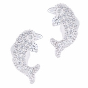 18k White Gold Plated Cubic Zirconia Dolphin Stud Earrings