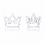 18k White Gold Plated Cubic Zirconia Princess Crown Stud Earrings