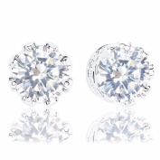 18k White Gold Plated Cubic Zirconia Crown Solitaire Stud Earrings