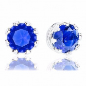18k White Gold Plated Cubic Zirconia Crown Solitaire Stud Earrings (3.50 carats) - Blue