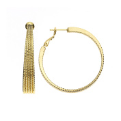 High Polished 50mm 14 Karat Gold Plated 5 Row Tapered Hoop with Diamond Cut