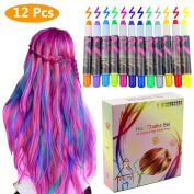 Philonext Hair Chalks Set - 12 Colourful Professional Waxy Hair Chalk Pens Non-Toxic Metallic Glitter Temporary Hair Colour, No Mess, Works on All Hair Colours