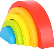 Small Foot 10585 Baby Motor Skills Toys in The Shape of A Rainbow with Five Different Colours and Shapes, Ideal Gripping Game for The First Months