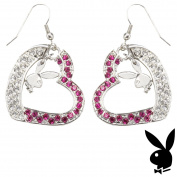 Playboy Earrings Bunny Heart Charms Dangle Pink Crystals Box RARE HTF