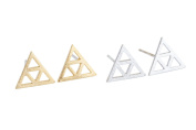 Fahsion Body Jewellery 20G 20Gauge Cartilage Daith Basic Solid Geometric Bermuda Shaped 3d Medium Triangle Pyramid Open Triforce Ear Studs Piercing Earrings