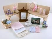 Dolls House Bathroom Accessory Set Perfume Towels Cabinet Toilet Roll etc.