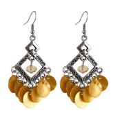 Women Plastic Diamond Shaped Round Slice Pendant Earrings Yellow Pair