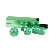 MagiDeal 5 Pieces/Set Aluminium Alloy 16mm 6 Sided Square Cube Spot Dice Round Corner with Case Box for Home Party Play Board Games - 6 Colours - Green