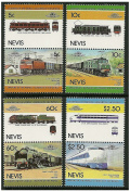 Trains of the world stamp pairs - 8 Stamps in 4 pairs SG219-226 Nevis / MNH / Later Printing of 1984 Issue