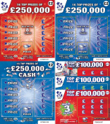 6 X World's Most Realistic - Fake Joke Winning Scratch Cards - Every card appears to win from £50,000 to £250,000