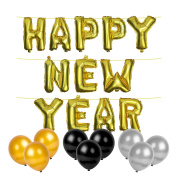 Metallic Gold 'Happy New Year' Foil Balloons & 30x Gold, Silver & Black Latex Balloons
