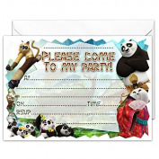 20 x GLOSSY Party Invitations Inspired by Kung Fu Panda 3 with 20 x Envelopes for Kids Birthday