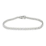 Tennis Link Bracelet Womens Solitaire 2.45CT Diamonds White Gold 18K Brand New