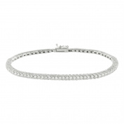 Womens Chain Link Bracelet 18K White Gold 3.7CT Genuine Diamonds .