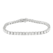 Womens White Gold Tennis Link Bracelet Solitaire 7.25CT Real Diamonds 14K White Gold