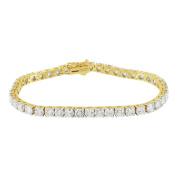 Womens Tennis Link Bracelet 11.81CT Solitaire Diamonds 14K Real Gold Bracelet