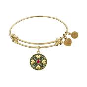 Angelica Brass July Ruby Bangle Bracelet 18cm Adjustable