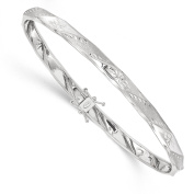 14k Solid White Gold Polished Satin Diamond-Cut Flexible Bangle Bracelet