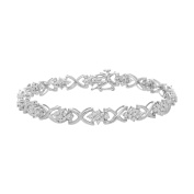Sterling Silver 1.60ct TDW Round Cut Diamond Cluster Bracelet
