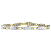14K Two-Tone Gold 2 CTTW Princess Cut Diamond Link Bracelet