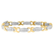 14K Two-Tone Gold 2 CTTW Princess Cut Diamond X-Link Bracelet