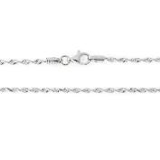 "14k White Gold 2.0mm Solid Diamond-Cut Royal Rope Bracelet, 7"""