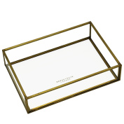 Brass Metal and Glass Small Vintage Stylish Jewellery and Storage Tray for Stacking and Stackable Storage and for Dressing Table Tidy