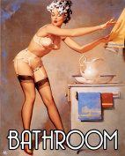 Bathroom Pinup shampoo in face Pin-up Girl METAL 15cm x 20cm Wall Sign Plaque Vintage Retro poster art picture print