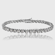 Sterling Silver Created 5.75ct White Sapphire S Design Tennis Bracelet