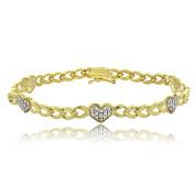 18K Gold over Sterling Siver Diamond Accent Heart & Leaf Bracelet