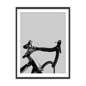 Green Lili - 'On Your Bike' Cycling Art Print. Black Frame with Mount 60x80cm