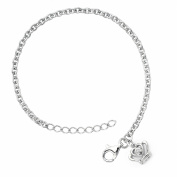 Little Diva Diamonds Girl's 925 Sterling Silver .01ct TDW Diamond Accent Crown Bracelet - White