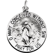 """Sterling Silver 18mm Round Immaculate Conception Medal with 18"""" Chain"""