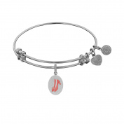 Angelica Collection White Brass Wizard Of Oz Red Ruby Slipper Bangle Bracelet