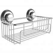 Gecko-Loc Heavy Duty Rustproof Suction Cup Bath Shower Caddy Deep Storage Basket and Shelf - Stainless Steel - Chrome
