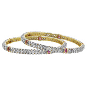 Gold Plated Simulated Ruby and Clear Ethnic Bollywood Indian Bangle 5mm Bracelets Set of 2