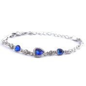Elegant Sapphire Blue Heart Bracelet