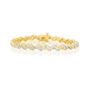 14k Yellow Gold Over Brass 1/4 Ct.t.w Diamond Bracelet
