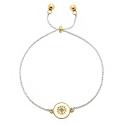 Inspirational Pull Chain Bracelet Gold & Silver Dual Charm Crystal Star - Dream