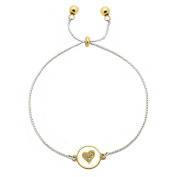 Inspirational Gold & Silver Chain Bracelet Dual Charm Crystal Heart - Love