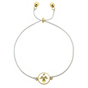 Inspirational Gold & Silver Chain Bracelet Dual Charm Crystal Angel - Believe