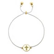 Inspirational Gold & Silver Chain Bracelet Dual Charm Crystal Cross - Faith