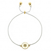 Inspirational Pull Chain Bracelet Gold & Silver Dual Charm Crystal Flower - Joy