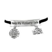 "Firefighter's ""Keep My Husband Safe"" Adjustable Hypoallergenic"" Safe-Nickel, Lead, & Cadmium Free!"